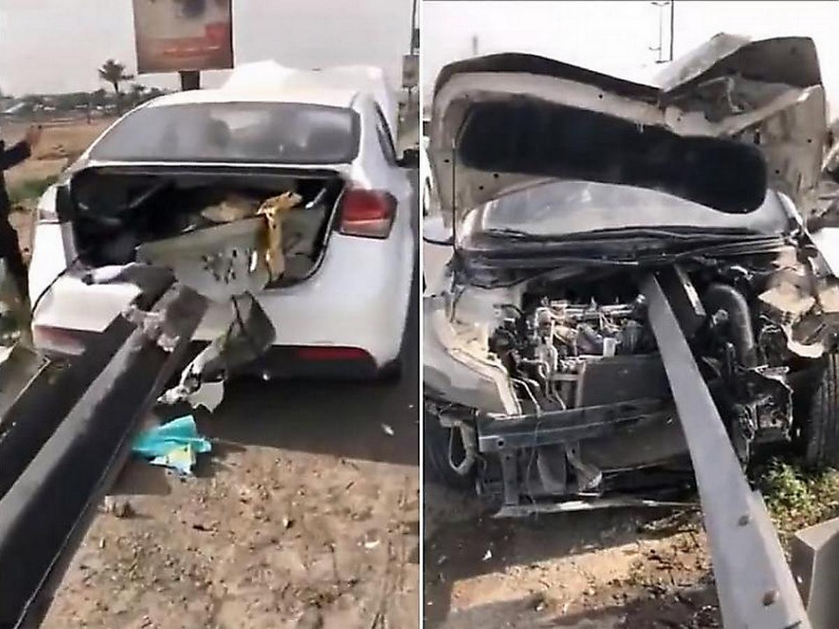 Водитель автомобиля, нанизанного на балку дорожного ограждения, выжил чудом