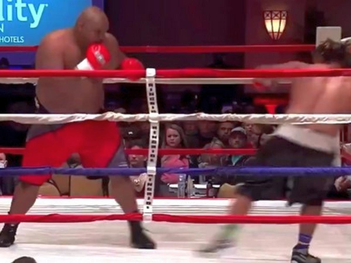 175-килограммовый боксер отправил дебютанта в нокаут