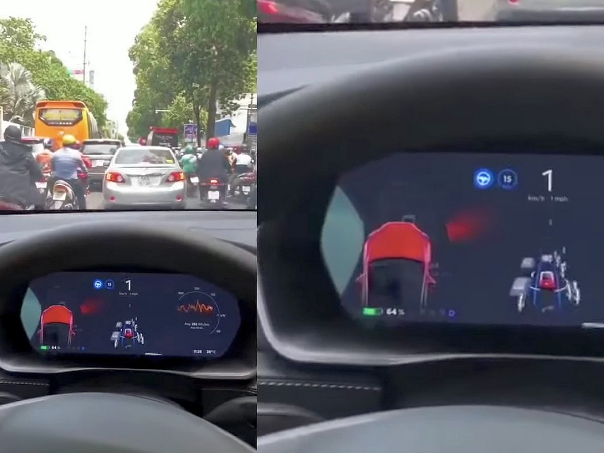 Автопилот Tesla сошёл с ума, реагируя на огромное количество мотоциклов