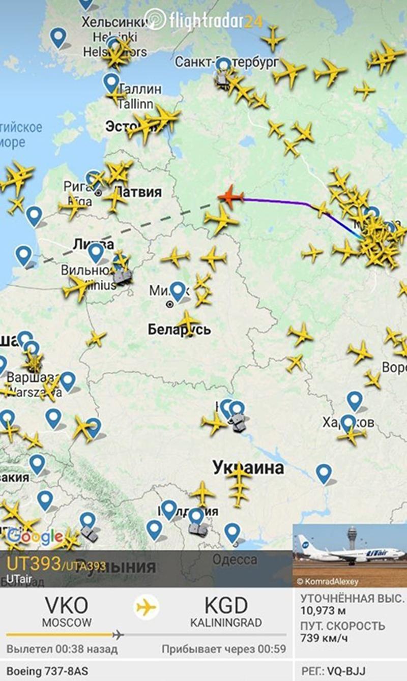 Рейс Utair в обход Белоруссии
