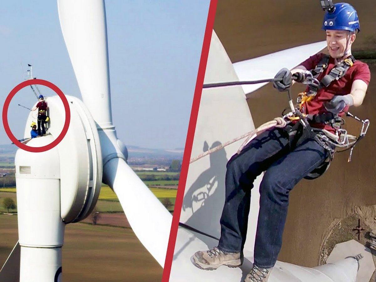 Блогер снял на видео свой спуск с ветрогенератора