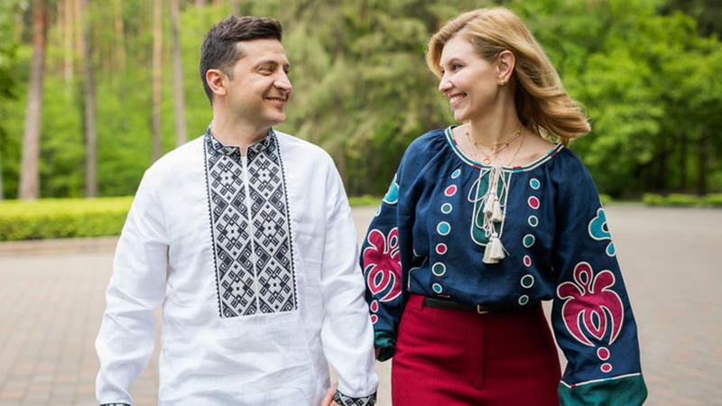 Зеленский с женой в вышиванках