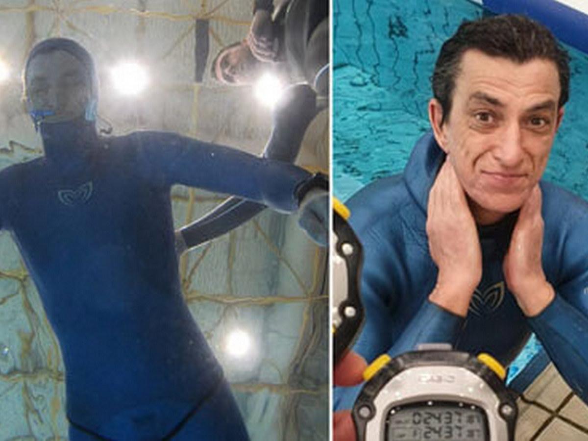 Фридайвер задержал дыхание под водой почти на 25 минут