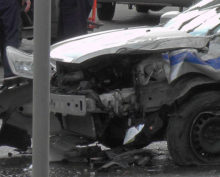На видео попало ДТП с участием автомобиля полиции и маршрутки