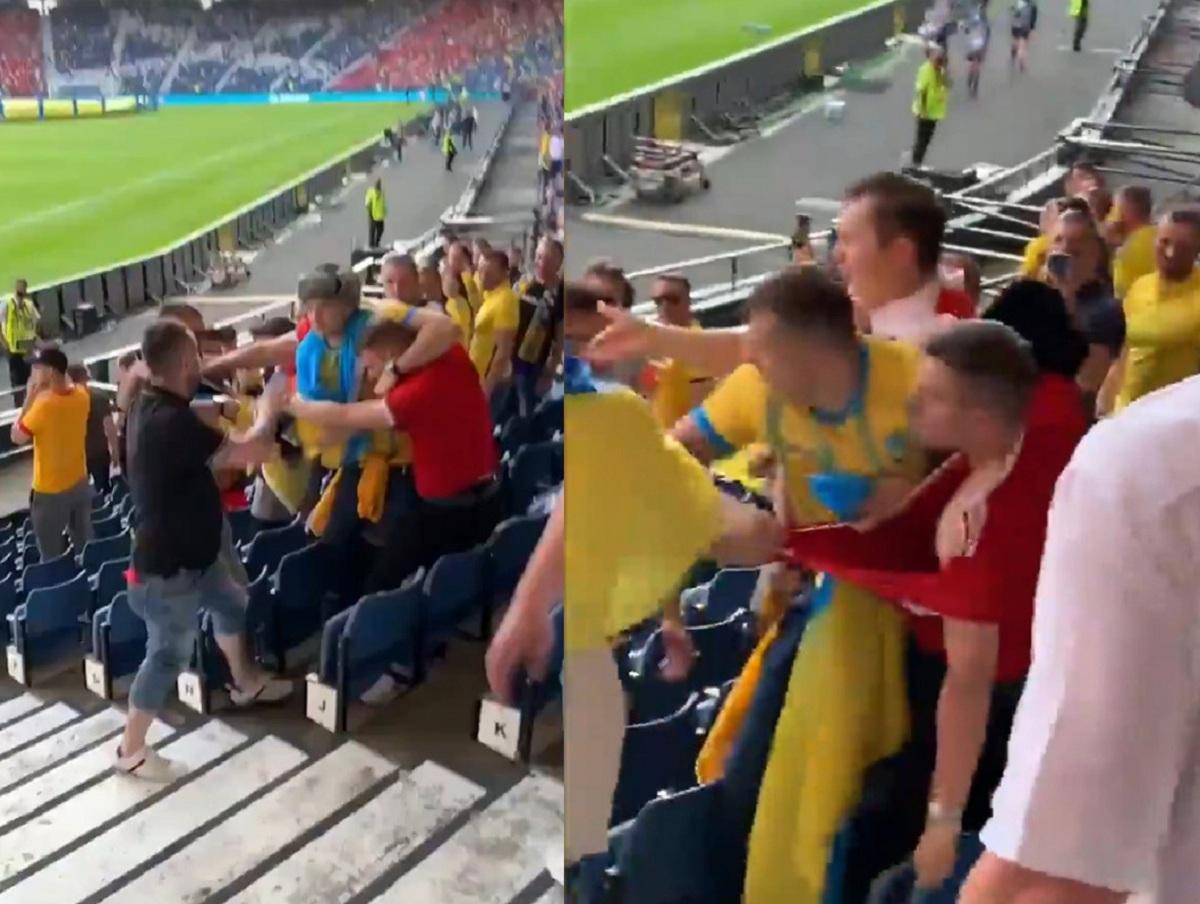 Видео драки с фанатом с флагом России на матче Украины – Швеция опубликовали в Сети