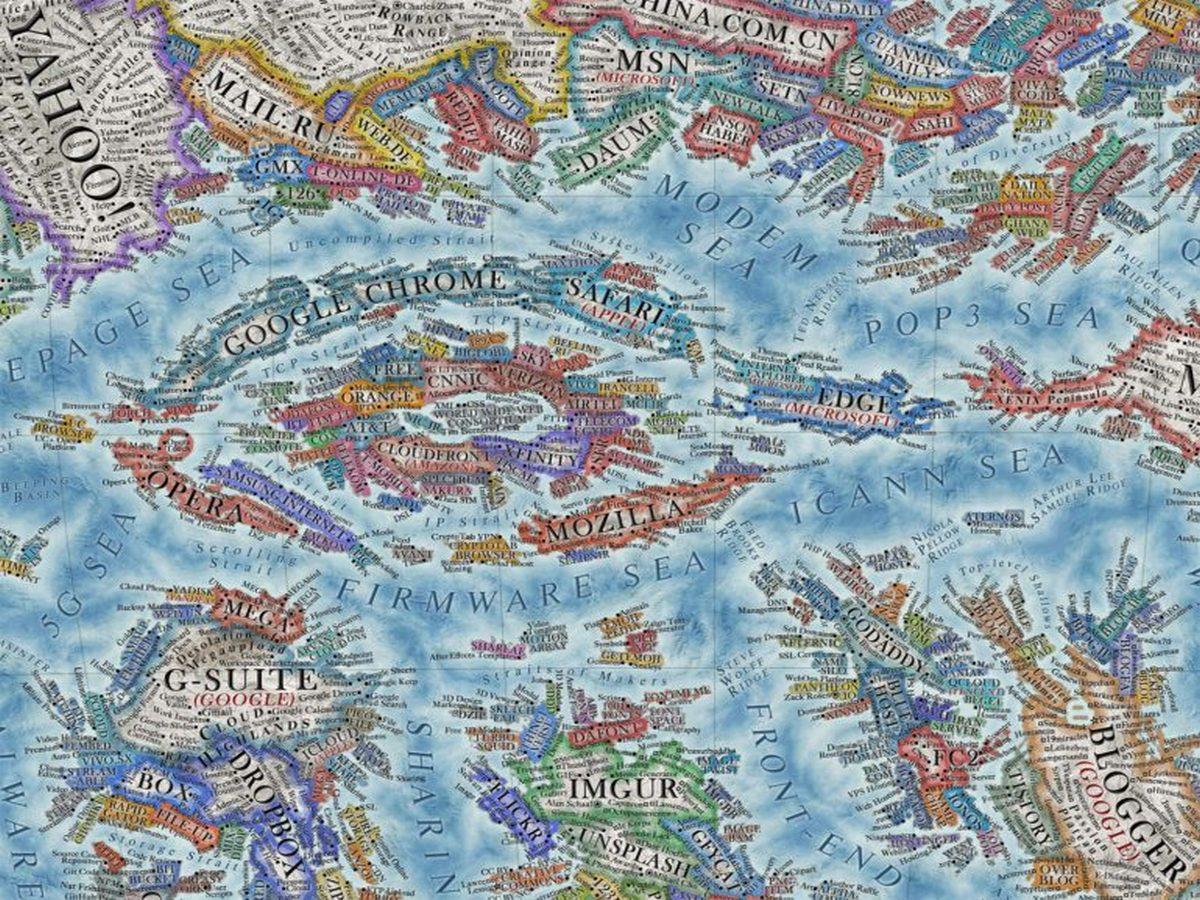 Художник нарисовал «карту интернета», которая обьединяет не менее 3 тыс. сайтов