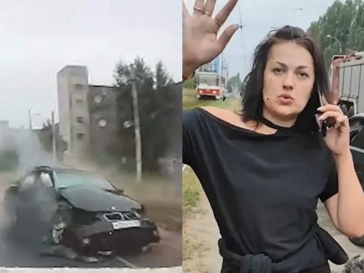 В Липецке женщина на BMW протаранила машину с ребёнком
