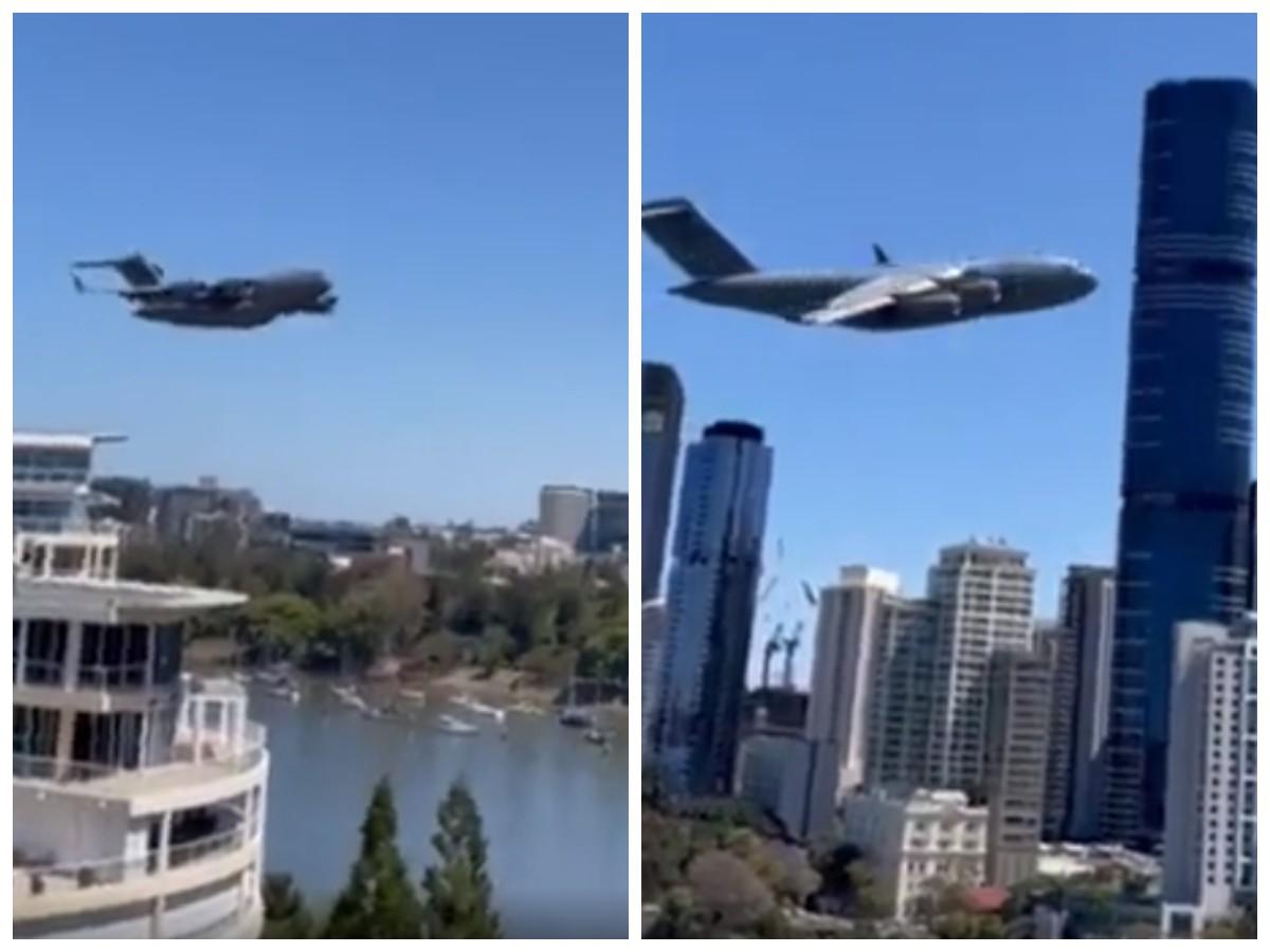 Полет Boeing C-17 Globemaster через городские кварталы напугал жителей США
