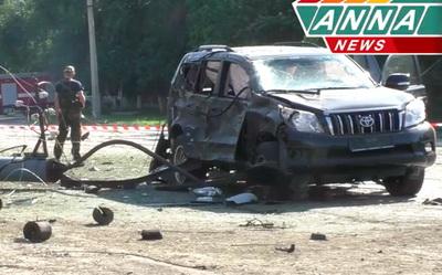 Появилось видео сместа подрыва автомобиля руководителя ЛНР