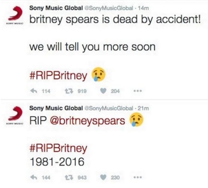 Сони Music винит хакеров всмерти Бритни Спирс