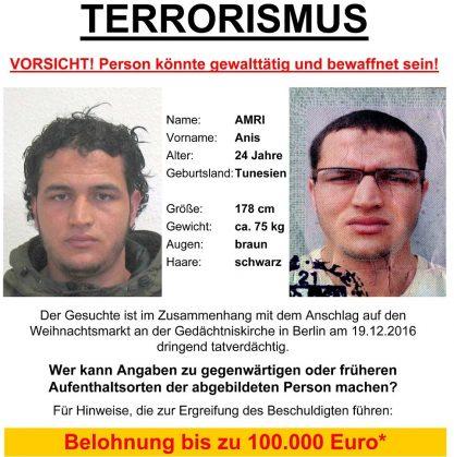 Милиция ФРГ разыскивает гражданина Туниса поделу отеракте вБерлине