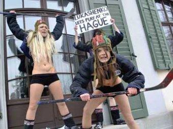 Активистки FEMEN провели «голую» акцию на морозе и наехали на Лукашенко