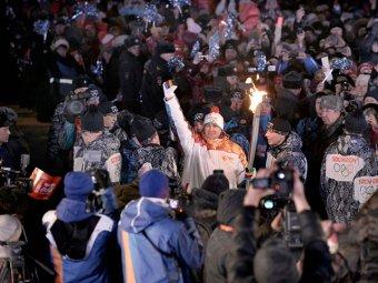 В Хакасии олимпийский факел поджог знаменитого спортсмена