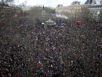 На марш в Париже 11.01.2015 вышли миллион человек (видео)