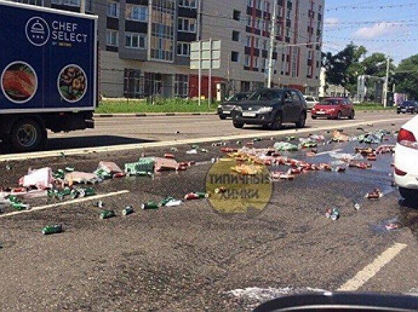 Химки залило пивом, выпавшим из грузовика
