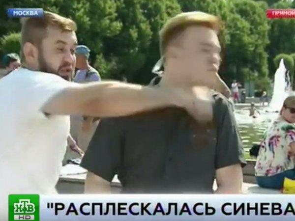 """""""Расплескалась синева"""": в День ВДВ пьяный мужчина побил журналиста НТВ в прямом эфире"""