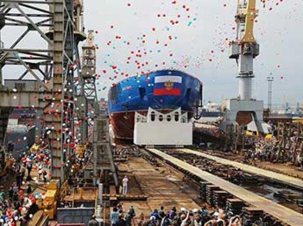 В Санкт-Петербурге на воду спустили самый мощный ледокол в мире (ВИДЕО)