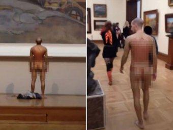 В Третьяковке после скандала с кражей картины мужчина спокойно прошелся по залам в нижнем белье