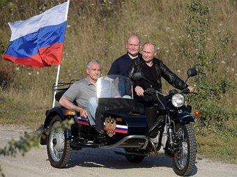 В день митинга в Москве Путин посетил байк-шоу Ночных волков в Крыму на Урале с коляской