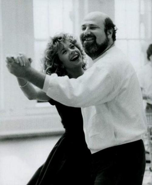 Мед Райан и режиссер Роб Райнер на съемках фильма «Когда Гарри встретил Салли», 1988 год