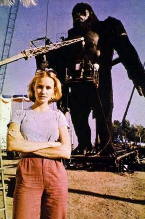 Джессика Лэнг на съемках фильма «Кинг-Конг», 1976 год