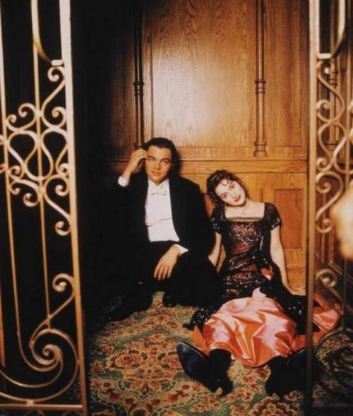 Леонардо ДиКаприо и Кейт Уинслет на съемках «Титаника», 1996 год.