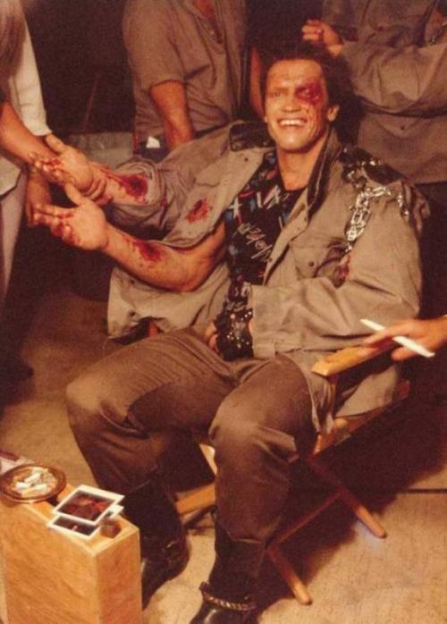 Арнольд Шварценеггер на съемках первого «Терминатора», 1984 год.
