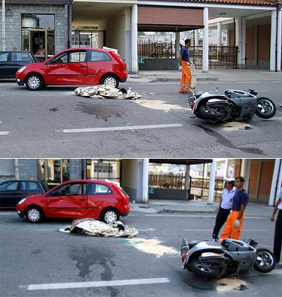 Мотороллер Vespa, на котором Пининфарина направлялся на работу, столкнулся с автомобилем Ford Fiesta, за рулем которого находился 78-летний мужчина, некий Джулиано Салми.