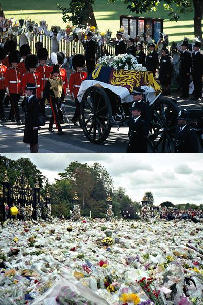 Смерть Дианы Спенсер потрясла весь мир. Прощание с «королевой сердец» длилось 10 дней, во время которых ее гроб был накрыт особым, королевским штандартом. Площадь перед Букингемским дворцом была завалена букетами. В день похорон во всех странах планеты была объявлена минута молчания.