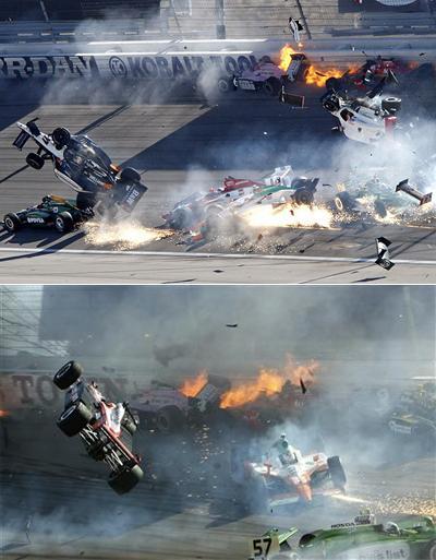 Одним из пилотов, попавших в эту кучу искореженной техники, оказался и Дэн: наехав на одну из машин соперников, его болид взлетел в воздух, отлетел в отбойник, после чего рухнул обратно на трассу.