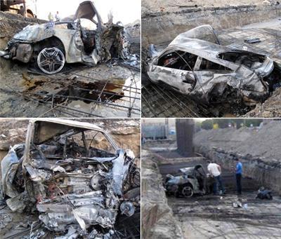 Автомобиль, в котором находилась девушка, снес предупреждающие знаки о ремонте дороги на Столичном шоссе по дороге в Киев, пробил железный забор, разбросал бетонные блоки, а затем, прокувыркавшись еще метров сто, рухнул в траншею.
