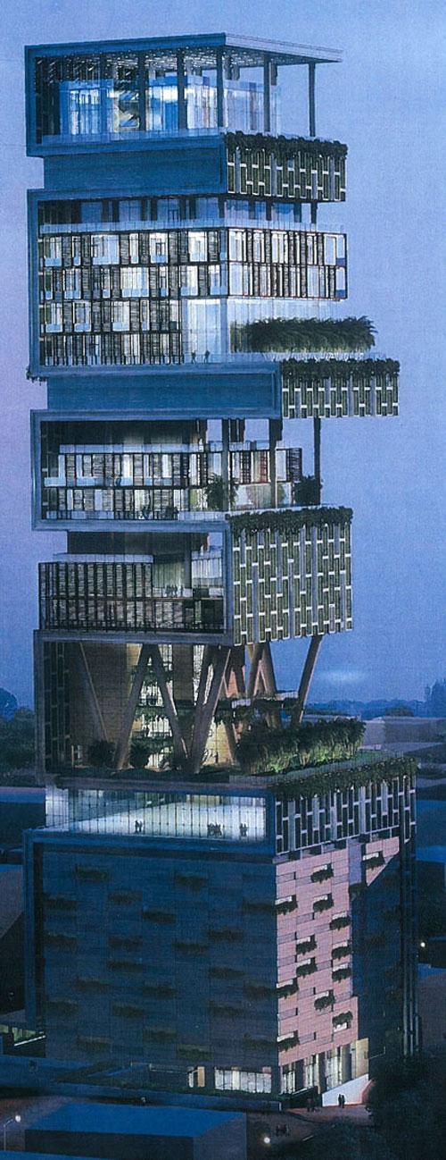Сейчас супруга Мукеша Нита и трое его детей обитают в чуть менее роскошном доме — 22-этажной бомбейской башне, уже, по видимости, ставшей тесноватой для этого семейства. В новом доме Амбани будет 27 этажей, перемещаться по которым жильцам помогут 9 лифтов, а общая площадь комнат составит примерно 40 тысяч кв. метров.