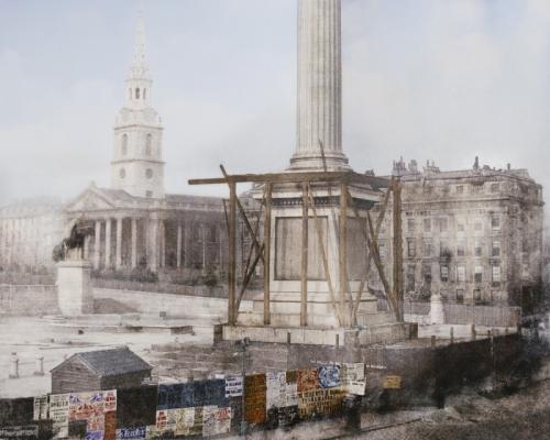 Апрель 1844 года. Строительство колонны Нельсона на Трафальгарской площади в Лондоне.