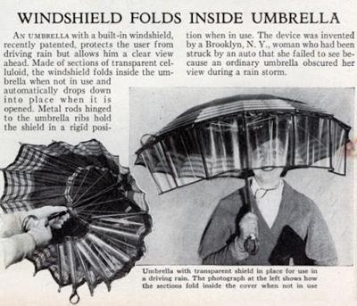 Зонт с лобовым стеклом на случай дождя с ветром (США, 1936)