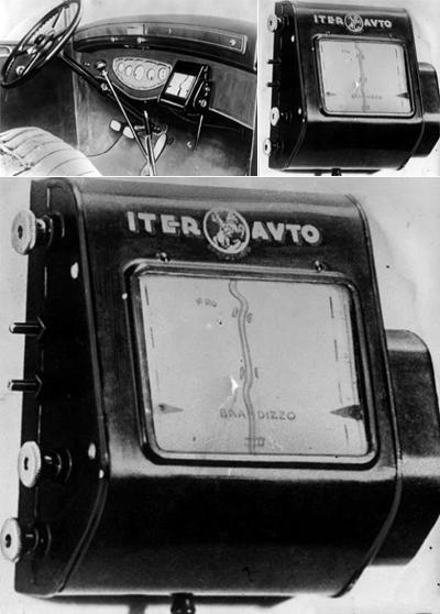 Аналоговый навигатор с прокручивающейся картой, скорость прокрутки которой зависит от скорости автомобиля (1932)