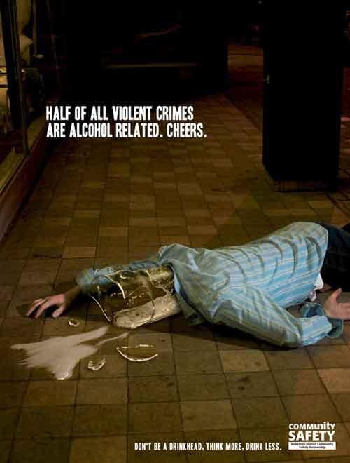 Половина всех насилий происходит из-за алкоголя, остановись! С таким слоганом выпустили свои принты американцы...