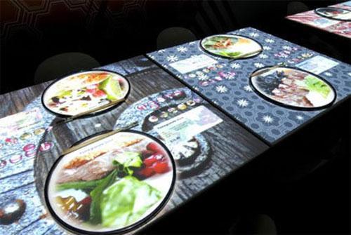 При просмотре позиций меню можно даже взглянуть на блюдо так, как если бы оно лежало перед вами на тарелке, и выбрать один из семи вариантов виртуальной сервировки стола, даже не прикасаясь к сенсорной панели.