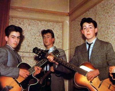 «The Quarrymen», 1958 год. Джону Леннону - 17, Джорджу Харрисону - 16, Полу Маккартни - 15.