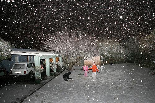 Неожиданный снегопад в городе Йоханнесбург в Южной Африке, июнь 2007.