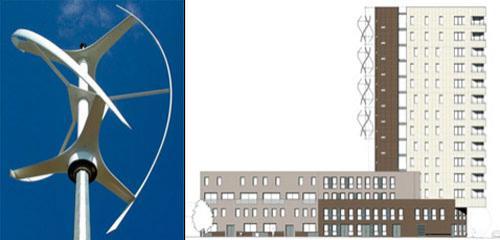 здание с ветрогенераторами в Лондоне