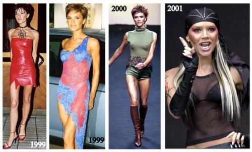 Виктория Бекхэм На заре карьеры девушку нельзя было назвать образцом стиля: она предпочитала обтягивающие лосины, короткие юбки и яркий макияж.