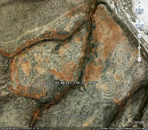 Наскальные рисунки в Орегоне, различимые с высоты 1.5 км
