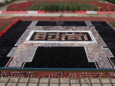 Самая большая мозаика из брюк Гигантская мозаика, выложенная из 23171 штанов в городе Чжэнчжоу, провинция Хэнань, Китай, 20 мая 2012 года, достигла 90,835 м в длину и 70,255 в ширину. Общая площадь объекта составила 6381,6 кв метров.