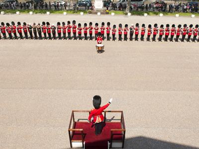 Самая длинная линия из трубачей Линия из 91 военного трубача, одетых в парадную форму своих полков, была выстроена перед Музеем гвардии в Лондоне 22 мая 2012 года. Необычный ансамбль исполнил «The Wedding Fanfare» Артура Блисса.