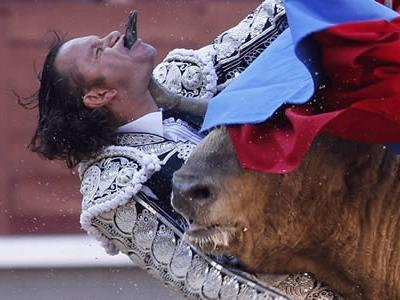 Испанский матадор Хулио Апарисио (Julio Aparicio) чудом избежал смерти после того, как бык проколол ему насквозь горло во время корриды на арене Лас-Вентас, в Мадриде, 25 мая 2010 года.