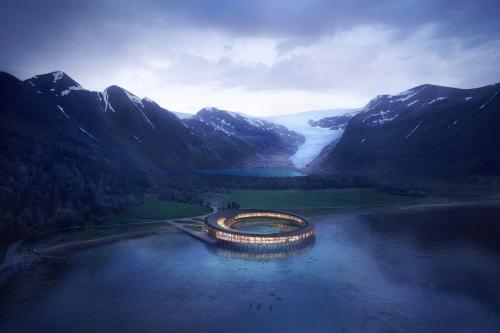"""Возле ледника Свартисен (Svartisen) на севере Норвегии появится необычный отель Swart. Это слово, означающее """"черный"""" или """"синий"""", используется при описании глубокого цвета льда по сравнению с ярким белым снегом."""