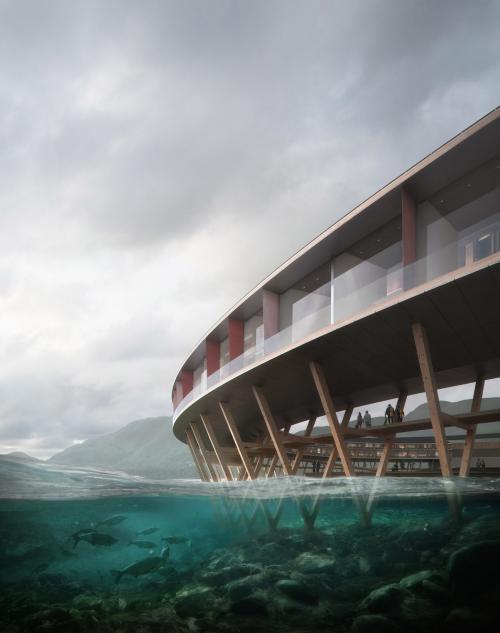 Здание отеля имеет форму кольца, что открывает панорамный вид на горы и фьорды. Оно отлично вписано в ландшафт, не нарушая природную красоту и даже дополняя ее. Архитекторы из бюро Snøhetta учли опыт строительства традиционных норвежских рыбацких домиков на сваях fiskehjell и rorbu. Благодаря этому отель оказывает минимальное воздействие на почву и окружающую среду, а туристы получают возможность поплавать на лодках непосредственно под зданием.