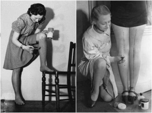 Вторая мировая война  Голые женские ноги считались верхом неприличия, а тратить деньги на нейлоновые колготки было недопустимой роскошью. В результате каждое утро девушки красили ноги специальной краской, имитировавшей темные колготки. Более состоятельные могли себе позволить вечером краску смыть, чтобы дать коже дышать, а бедные девушки носили ее, пока не сотрется. Краска у многих вызывала аллергию, но выбора не было.