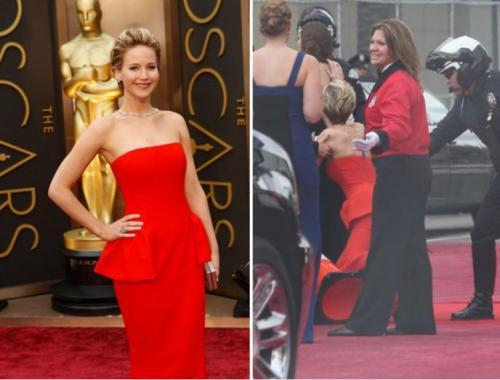 На церемонии «Оскар» в 2014 году актриса была в роскошном красном платье от Dior, но оступилась и упала.