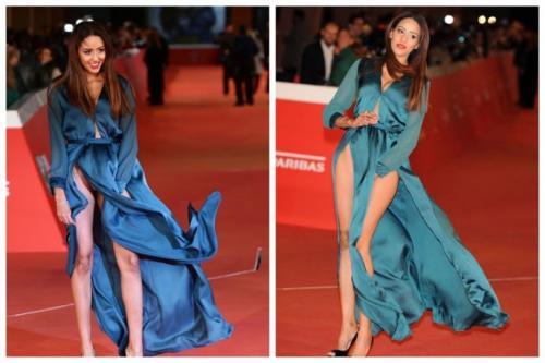 Итальянская актриса Заина Дриди попала в неловкую ситуацию из-за сильного ветра.